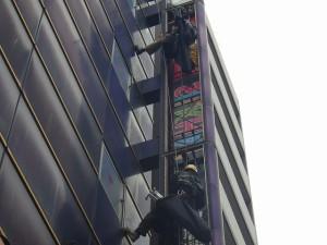 商業施設ビル 袖看板LED化工事 大田区